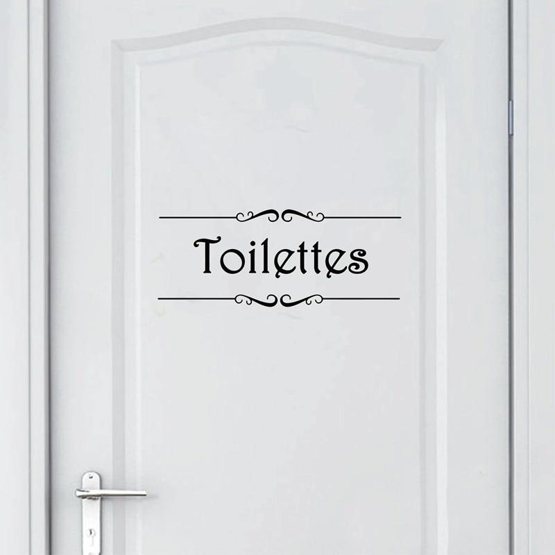 Vintage French Porte Salle de bain Toilettes Wall Sticker Bathroom Decor Toilet Door Vinyl Decal Decoration Wall Art Sticker