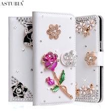 Handmade Case For ZTE Blade V7 Lite Case Flower Glitter Rhinestone Wallet PU Leather Cover For ZTE Axon 7 Luxury Diamond Fundas