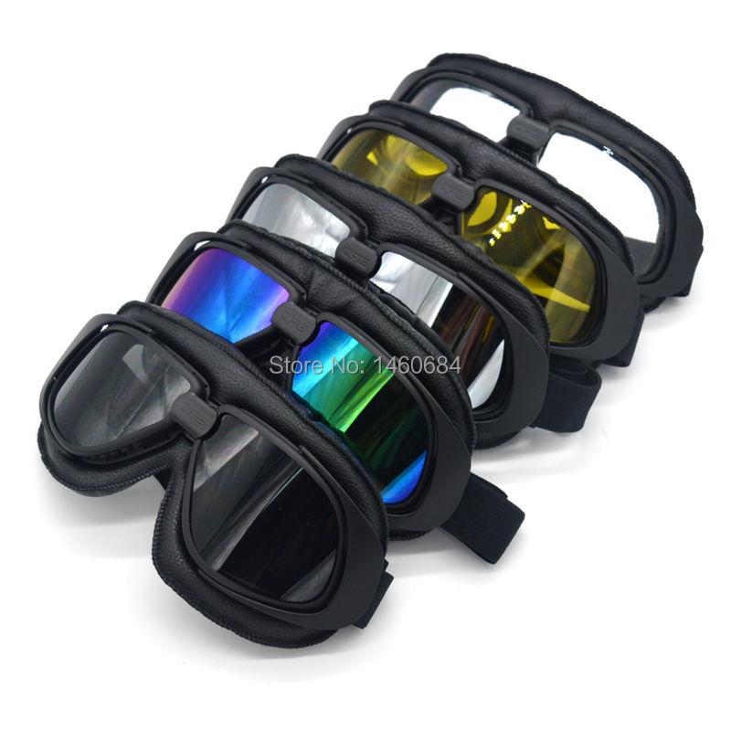 Evomosa Retro JET Helmet Goggles Motorcycle Goggle Vintage Pilot Biker Leather Eyewear/Skiing Glasses/Racing Glasses Black New