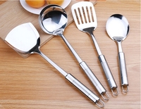 4pcs Per Set Stainless Steel Kitchen Tools With Rice Spoon Spatula Soup Ladle Slice Free Shipping