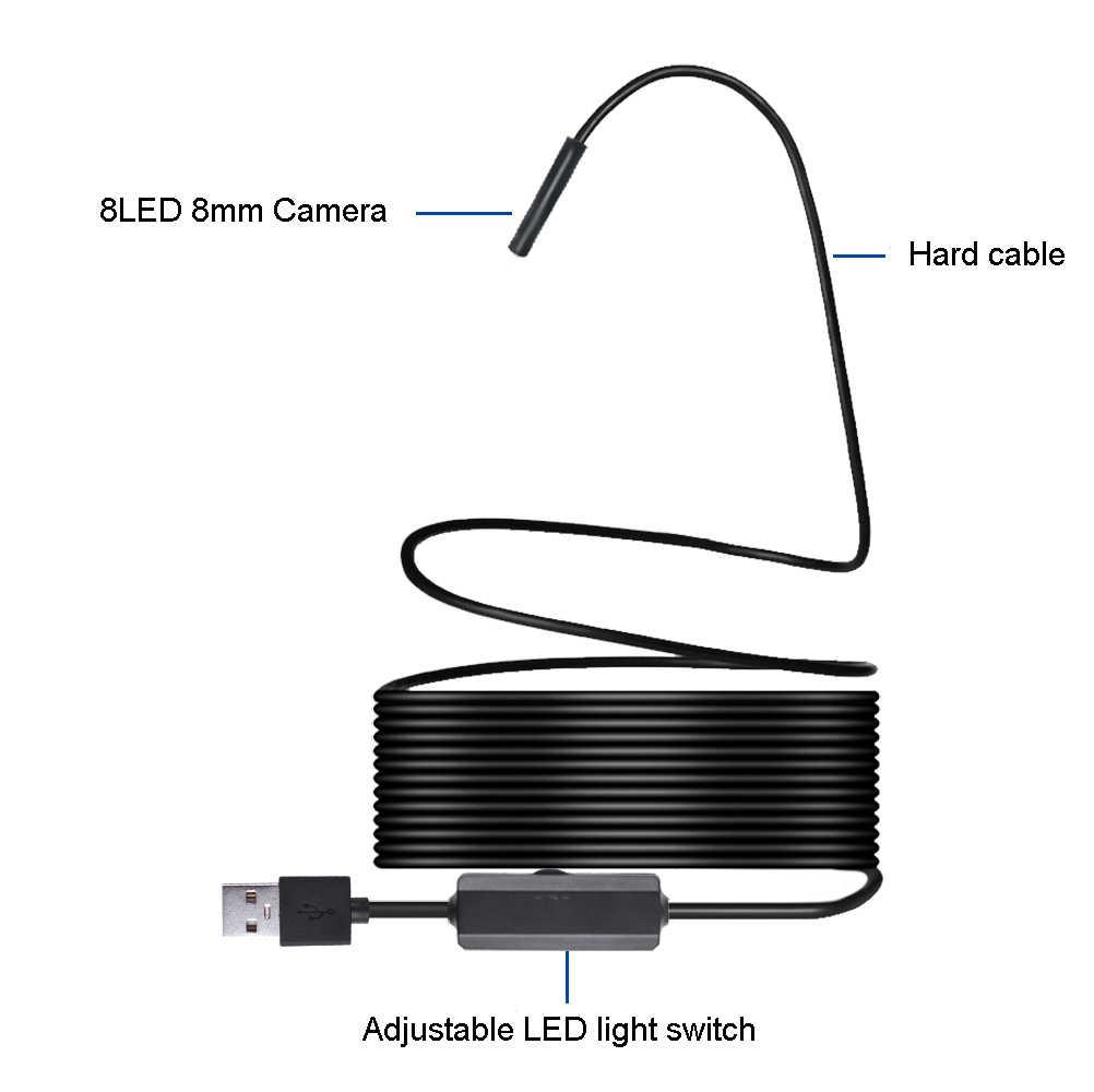 ワイヤレス無線 Lan 内視鏡カメラ HD 1200P ミニソフト/ハードケーブル検査カメラ 8 ミリメートル 8LED ボアスコープ ios アンドロイド PC 内視鏡