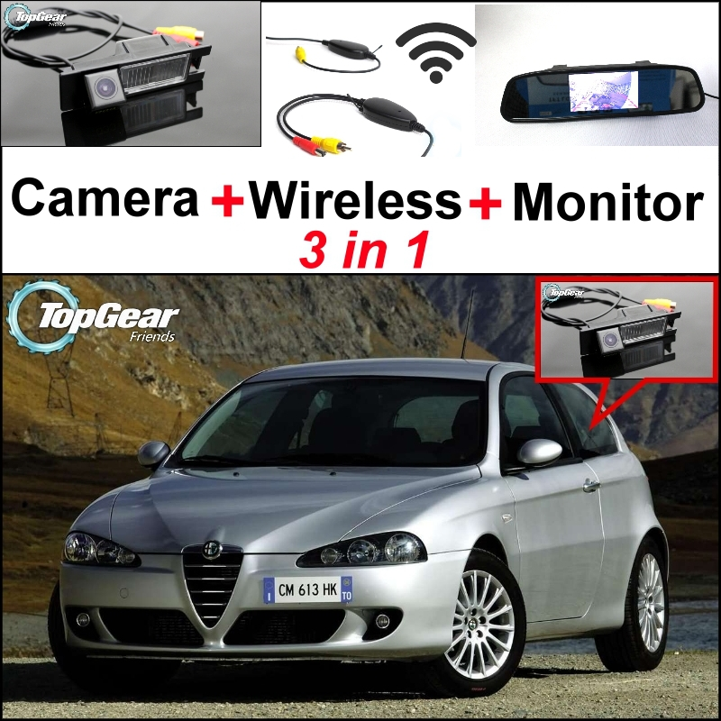 3in1 Special WiFi Rear View Camera + Wireless Receiver + Mirror Monitor Easy DIY Backup Parking System For Alfa Romeo 147 AR wireless pager system 433 92mhz wireless restaurant table buzzer with monitor and watch receiver 3 display 42 call button