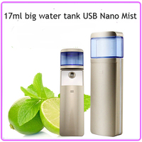Free Shipping High Quality 17ml Water Tank USB Rechargeable Nano Handy Mister Sliding Facial Beauty Steamer