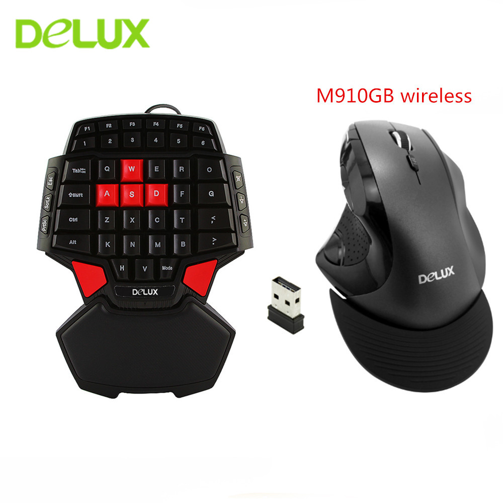 delux t9 gaming keyboard mouse combo single one hand wired keypad wireless 9 buttons 2400dpi. Black Bedroom Furniture Sets. Home Design Ideas