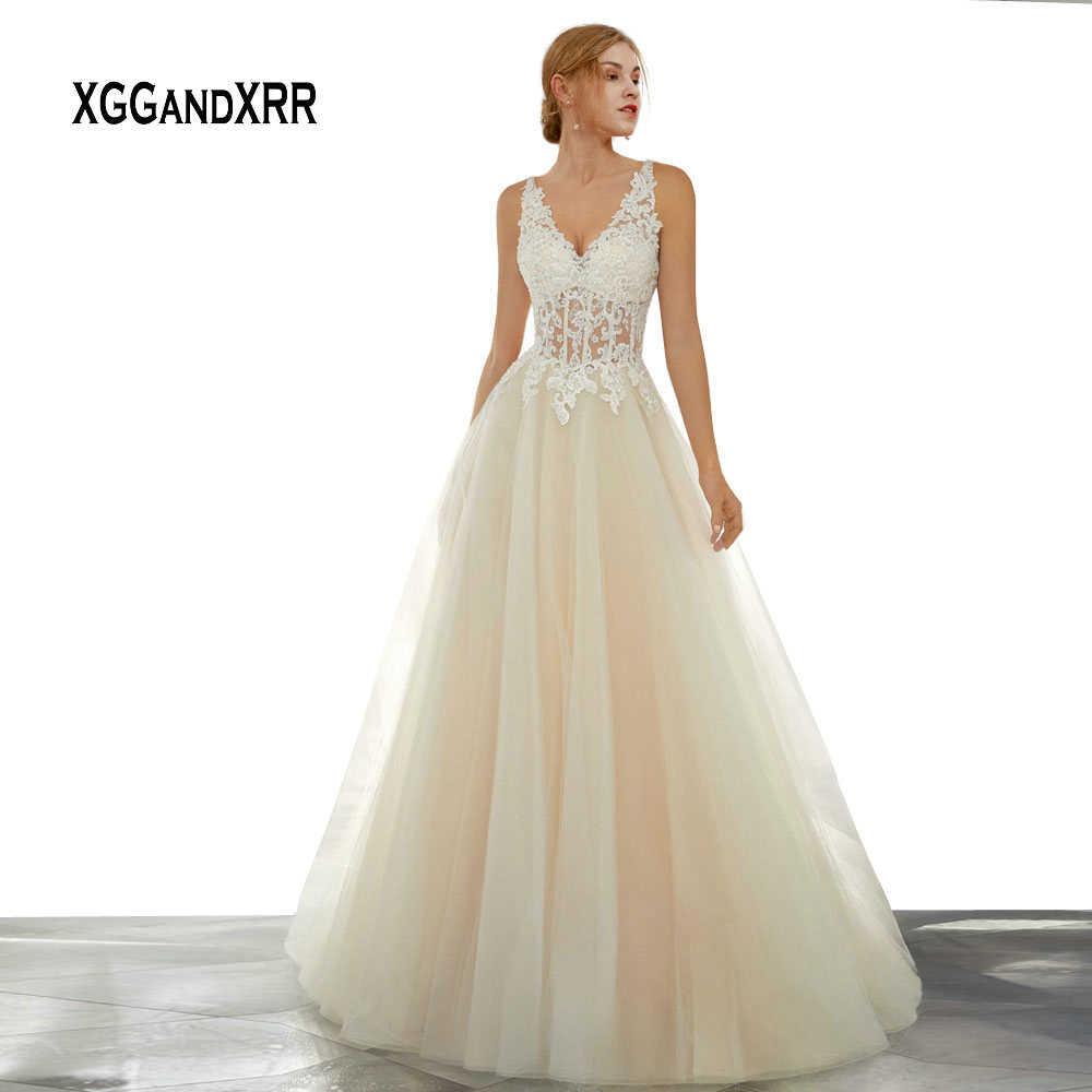 5ef7262f8646967 В Мода Кружева Линия свадебное платье 2019 Sexy V шеи открытая спина, Тюль  Длинные свадебное