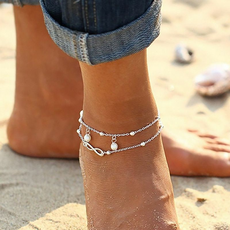 Bohemian Elegant Women's Imitation Pearl Anklet Foot Bracelet Barefoot Sandals Chain Strap Beach Accessories Jewelry For Women 1