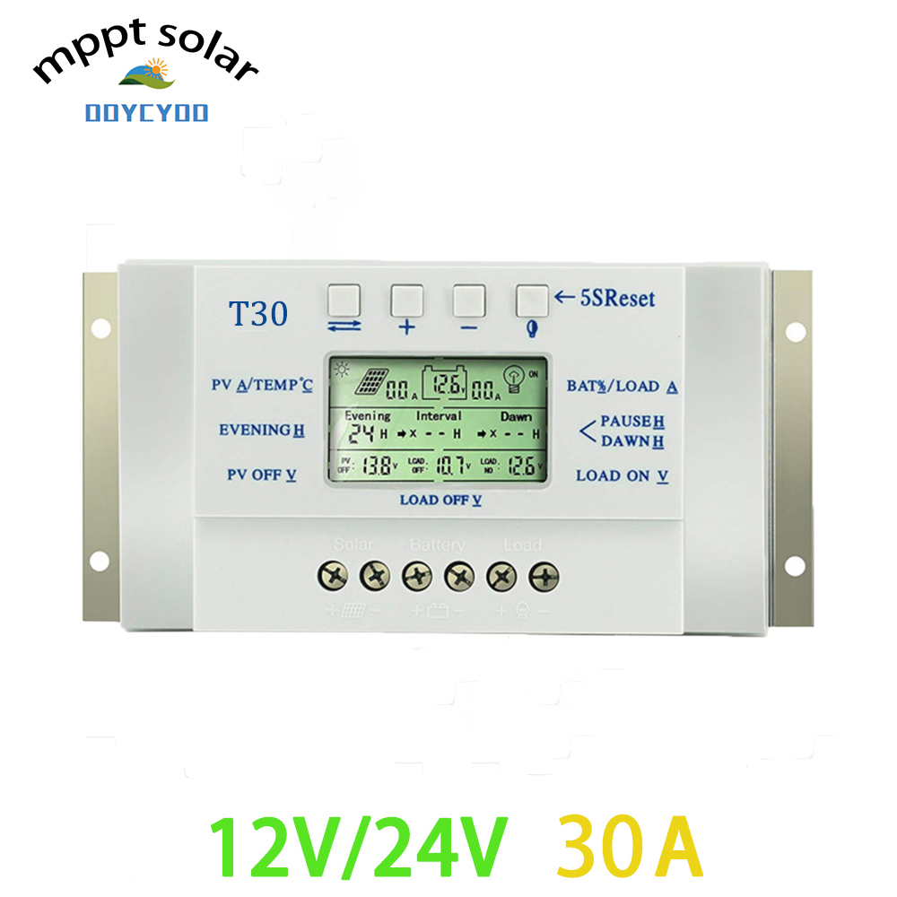 OOYCYOO solar charge controller 30A MPPT PWM adjustable voltage LCD light and dual timer control 30A 12V 24V auto work