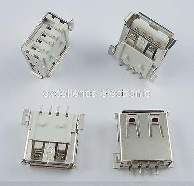 100Pcs USB Type-A 4 Pin Female SMT Socket Connector DIY diy usb a 4 pin female connector socket silver 20 piece pack