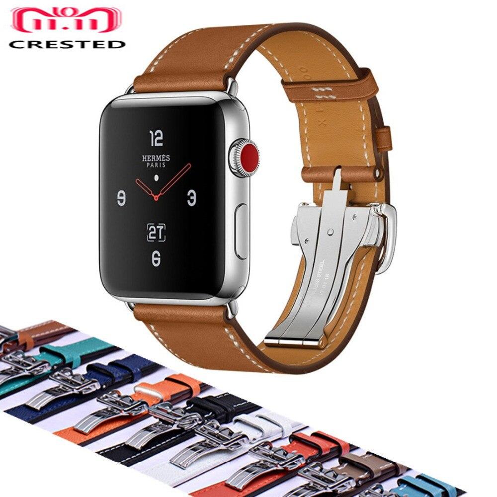 все цены на CRESTED Leather Deployment Buckle strap For Apple watch 4 band 44mm/40mm belt iwatch 42mm/38mm 3/2/1 Single Tour wrist Bracelet онлайн