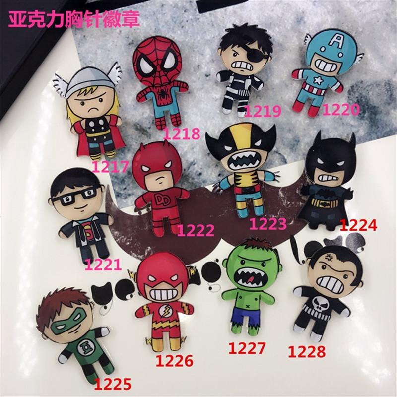 1Pcs Marvel's The Avengers Cartoon Superhero Icons Badges Acrylic Pins Brooch Bags DIY Clothes Accessories Boy's Reward Gift