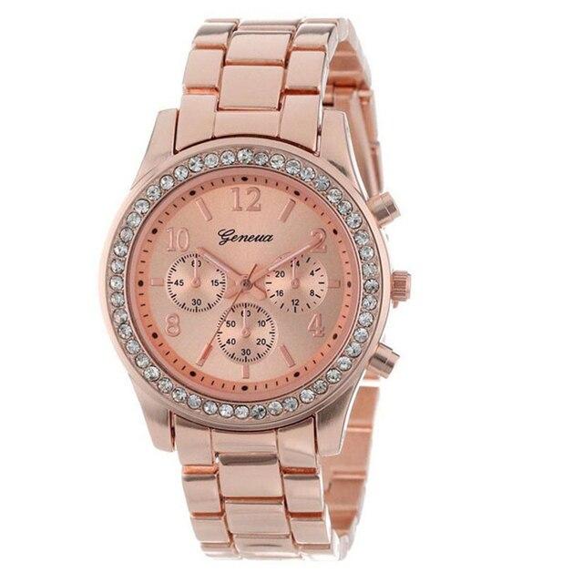 Women Dress Watches Rose Gold Stainless Steel Brand Fashion Ladies Wristwatch Cr