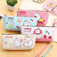 Cute Kawaii Minions Totoro PU Pencil Case Lovely Cartoon Cat Rabbit Pen Bag For Kids Gift Korean Stationery
