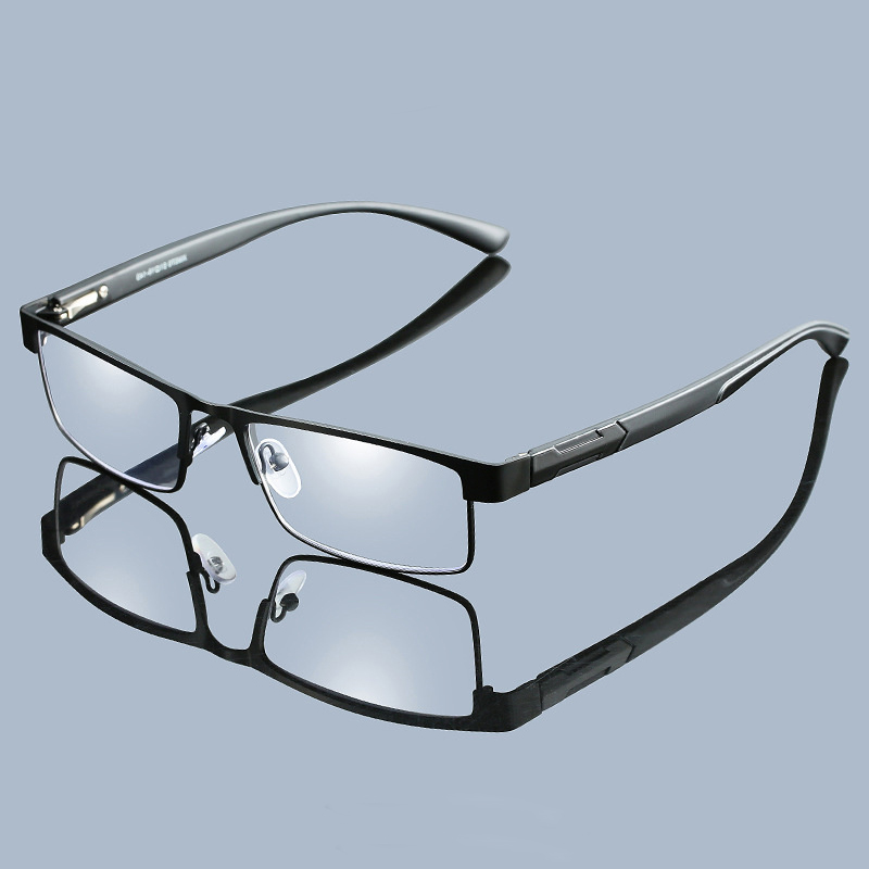 Handoer Men Titanium Alloy Reading Glasses Aspherical 12 Layer Coated Lenses Retro Business Hyperopia Prescription Eyeglasses