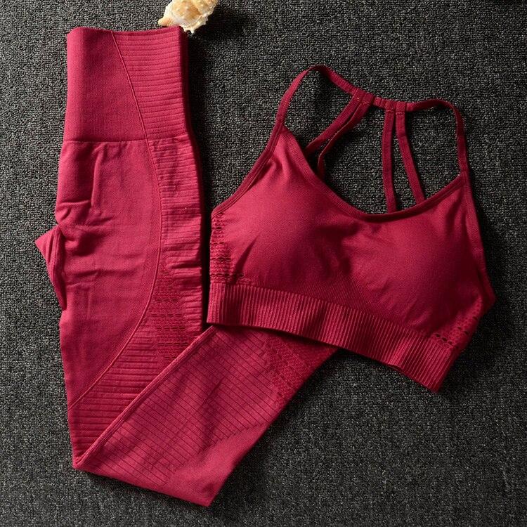 Conjunto de 2 piezas de gimnasio ropa de entrenamiento para mujer