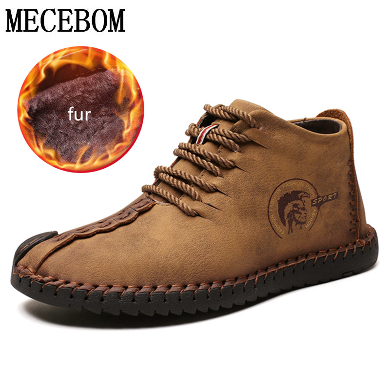 Men's Shoes Winter Boots Men Shoes Fashion Warm Fur Flock Male Plus Size Botas Hombre Tennis Sneakers Winter Ankle Boots Men Winter Shoes