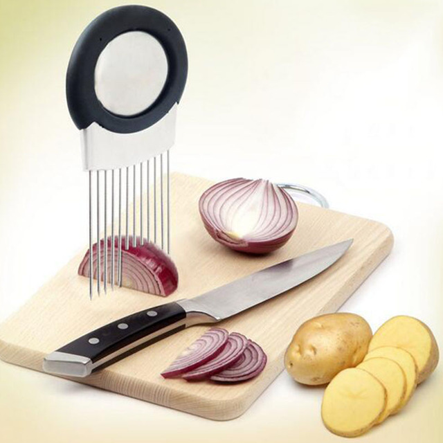 Cutting Aid Holder Onion Vegetables Tomato Slicer Guide Slicing Cutter Safe Fork Stainless Steel Kitchen Gadgets Tools