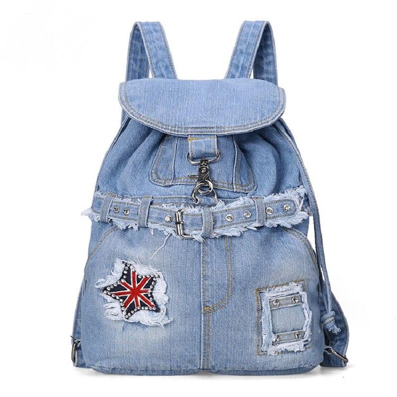 Vintage Casual Preppy Style Beading Diamonds Denim Backpack School Bags Jeans Women Daypacks CrossBody bag bolsa