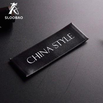 Free shipping 200pcs/lot Custom single satin ribbon fabric print sewing tags for cloth label custom logo printed clothing