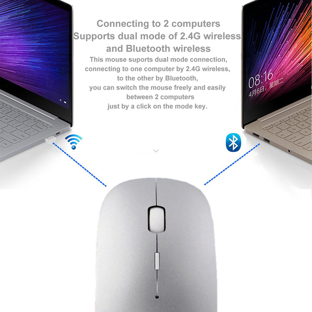 Cliry Bluetooth 4.0 + Wireless Dual Mode 2 In 1 Rechargeable Mouse 1600 DPI Ultra-thin Ergonomic Portable Optical Mice for Mac