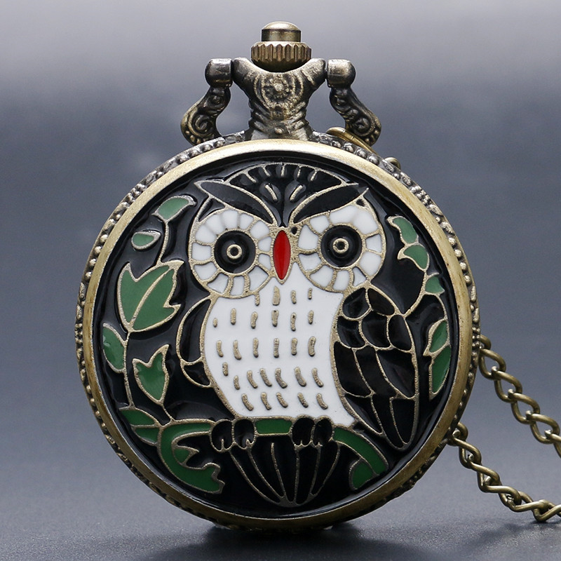 Vintage Enamel Owl Pocket Watch Epoxy Bronze Cover Pendant Necklace Lovely Animal Clock Unique Gifts For Friends Family Children