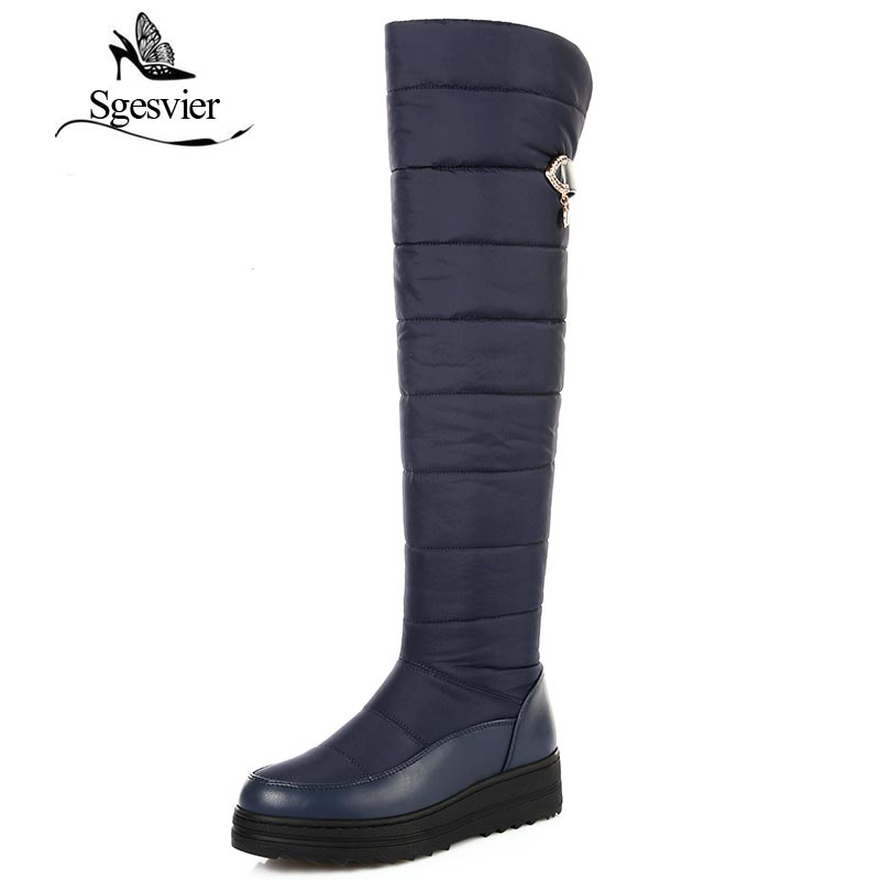 SGESVIER Black Blue Women Boots Over The Knee Snow Boots Warm Plush Cotton Shoes Flat Heel Boots For Woman Big Size 35-44 OX128 sgesvier comfortable senior leather fabrics simple and easy red green and four color yellow women flat shoes size 34 41 xt21