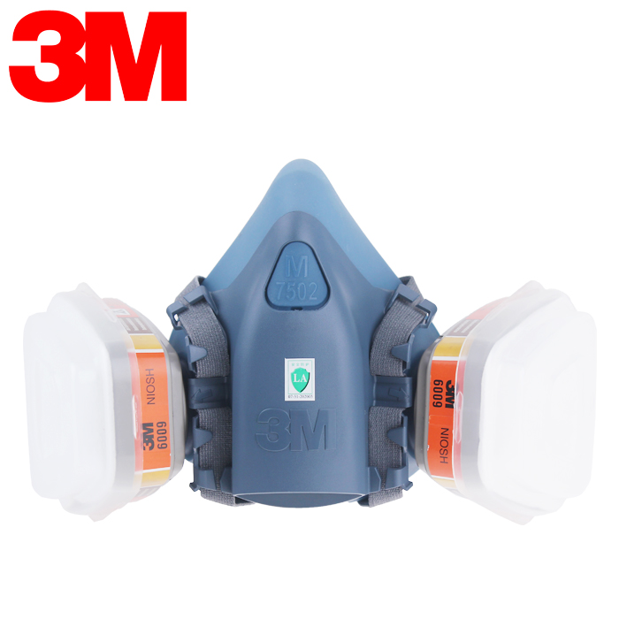 3M 7502+6009 Half Facepiece Reusable Respirator Mask Protection Mask Against Mercury vapor/chlorine gas Protective Mask V078 3m 7501 2097 half facepiece mask reusable respirator p100 respiratory protection nuisance level organic vapor relief xk005