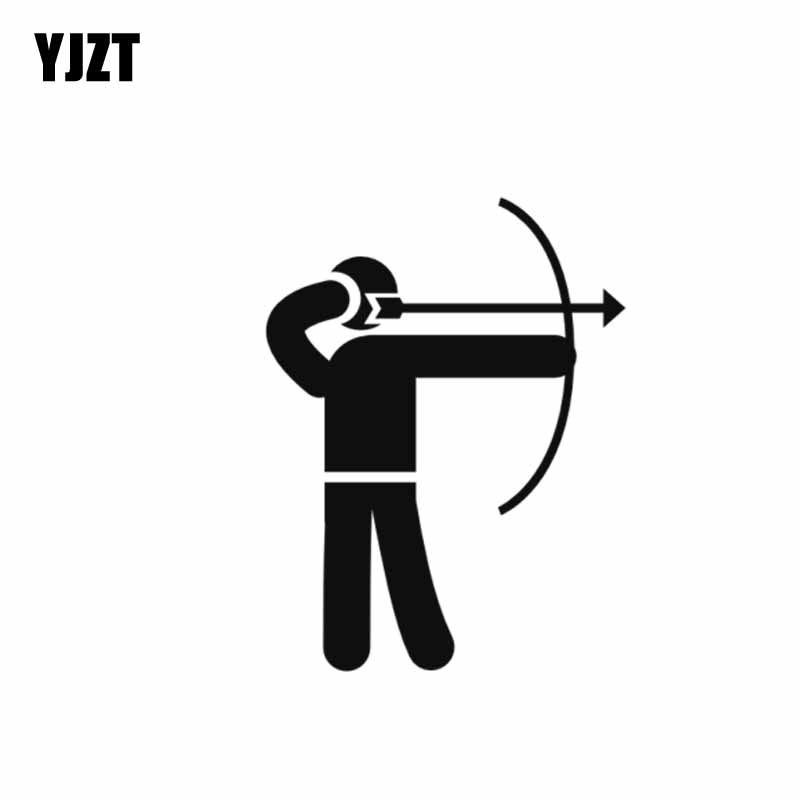 YJZT 8.4*11CM Covering The Body Cute Little Simple Figure Archer Warrior Soldier Praying Car Sticker Black/Silver Vinyl C21-0042