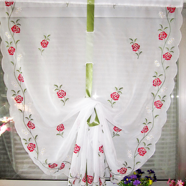 Cafe Kitchen Curtains Embroidered Valances Sheer Voile Roman Blinds