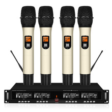 Top Quality 4 Channel Wireless Microphone System UHF Karaoke Cordless Four Handheld Kalaoke Stage