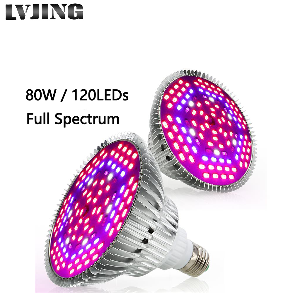 LVJING 120 LED Plant Grow Light Full Spectrum 80W Ultraviolet Lamp For Houseplant Seedings Medical Indoor Cultivation 1/2/4/8Pcs
