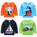 New 2016 Spring Autumn Kids Clothes 4 Colors 100% Cotton New Cute Cartoon Bear Bowtie Gentleman Toddler Sweatshirt For Baby Boy