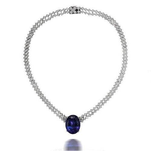 Nouveau collier en pierre bleu foncé Qi xuan_fashion avec 925 argent massif plaqué or blanc fabricant directement ventes