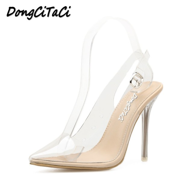 f987330fa2 Dongcitaci mujeres Tacones altos Sandalias Zapatos mujer Bombas moda  patchwork transparente wedding las señoras sexy stiletto