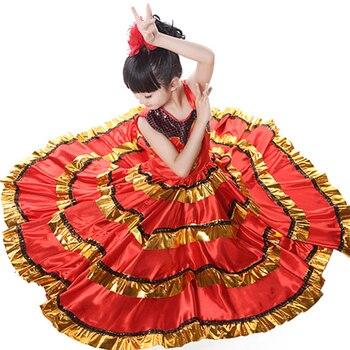 c2c35a1f573d5a 110-150 cm enfant Flamenco danse robe espagnol Paso Doble danse Costume  filles Flamenco Dancewear pour fille