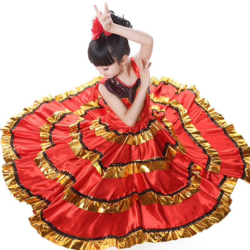 110-150cm Kid's Flamenco Dance Dress Spanish Paso Doble Dance Costume Girls Flamenco Dancewear for Girl