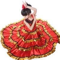 110 150cm Kid's Flamenco Dance Dress Spanish Paso Doble Dance Costume Girls Flamenco Dancewear for Girl