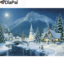 DIAPAI 100% Full Square/Round Drill 5D DIY Diamond Painting House snow scene Embroidery Cross Stitch 3D Decor A21003