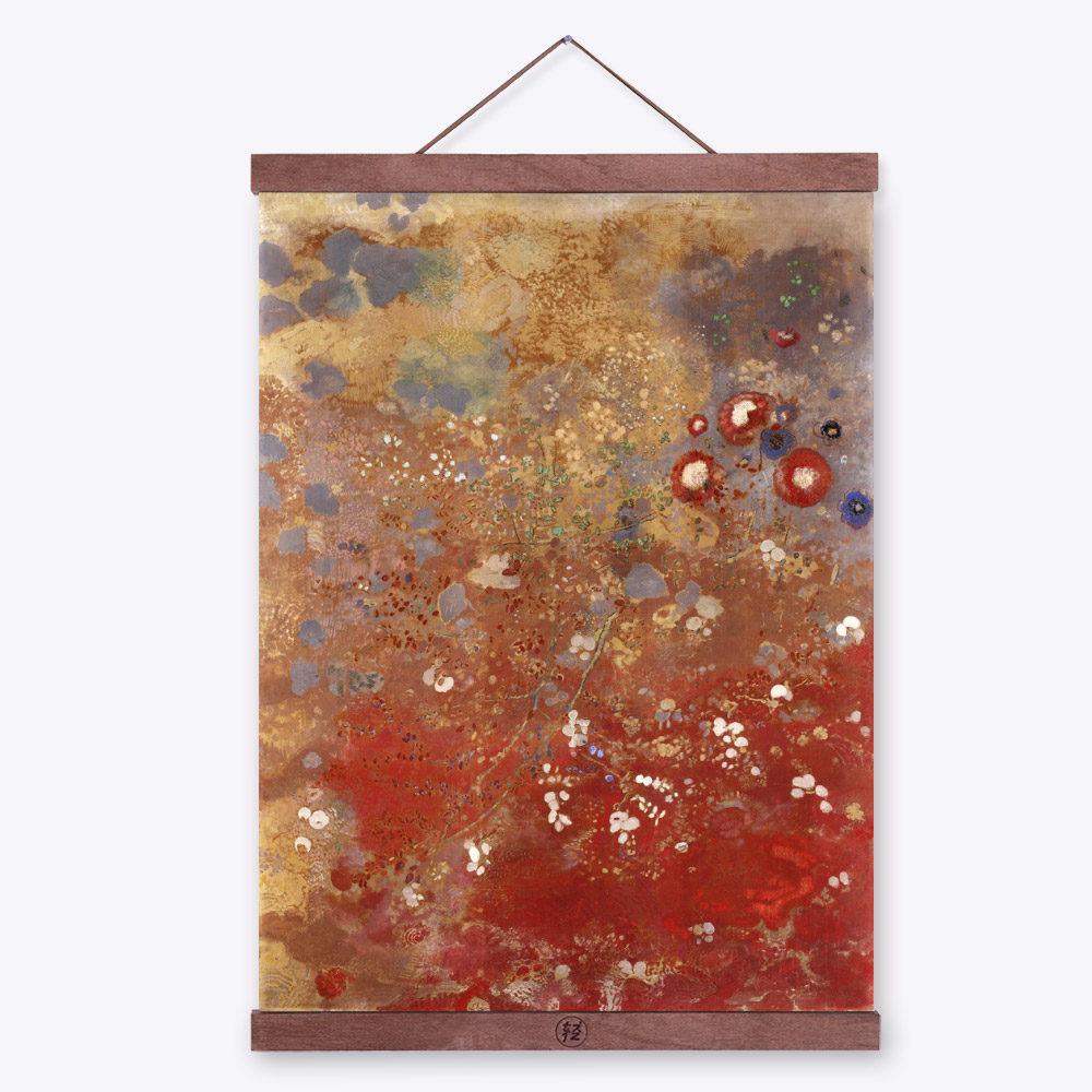Modern Impressionism Odilon Redon Red Flower Floral Field Art Prints Poster Abstract Wall Picture Canvas Oil Painting Home Decor