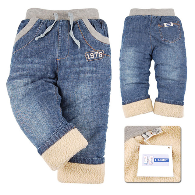 High quality KK-RABBIT Winter Thick Kids Boys Baby Pants Children Jeans