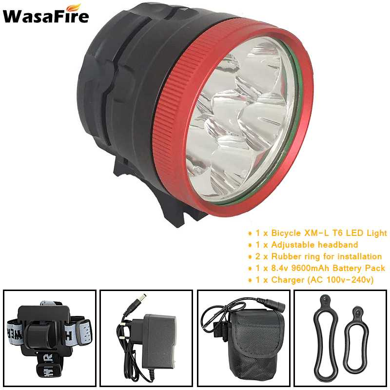 WasaFire 6*XML T6 LED 3 Modes Bike Light Bicycle Front Lamp Headlight Headlamp 9600mAh 18650 Battery Pack Cycling Frontlights sitemap 32 xml page 6