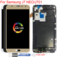 Super AMOLED J701F Display For Samsung Galaxy J7 NEO J701 J701F LCD Display With Frame Touch Screen Digitizer Assembly