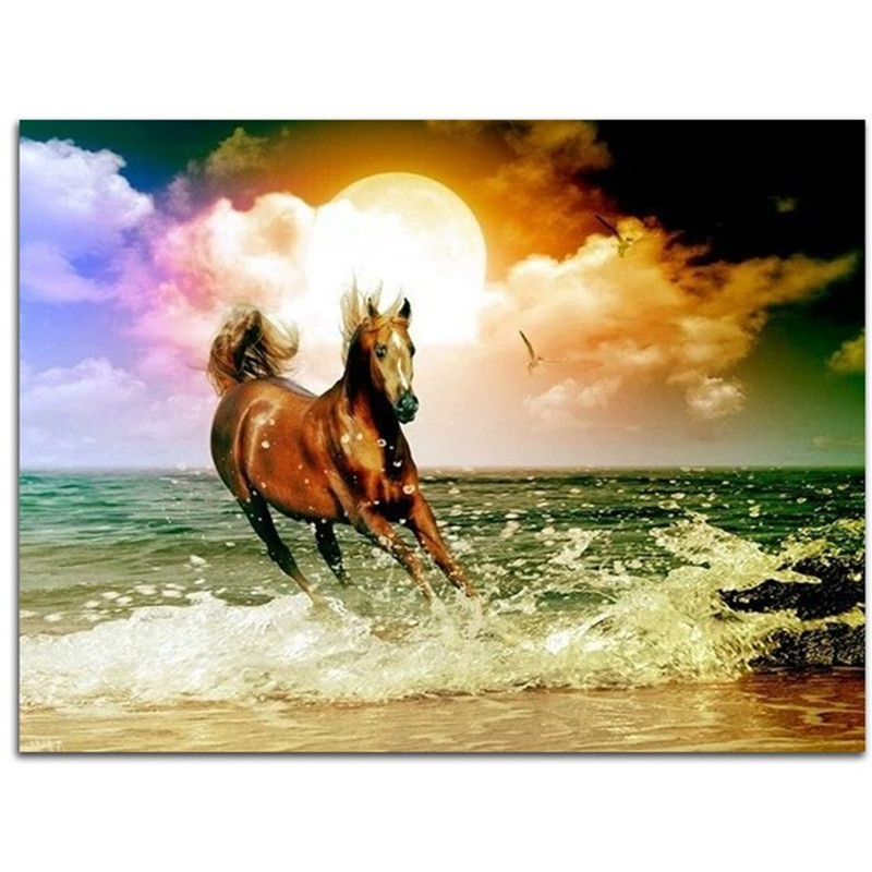 Horse Diamond Painting Cross-Stitch Running at the beach diamond mosaic Landscape Kits for embroidery sunset rhinestones Picture
