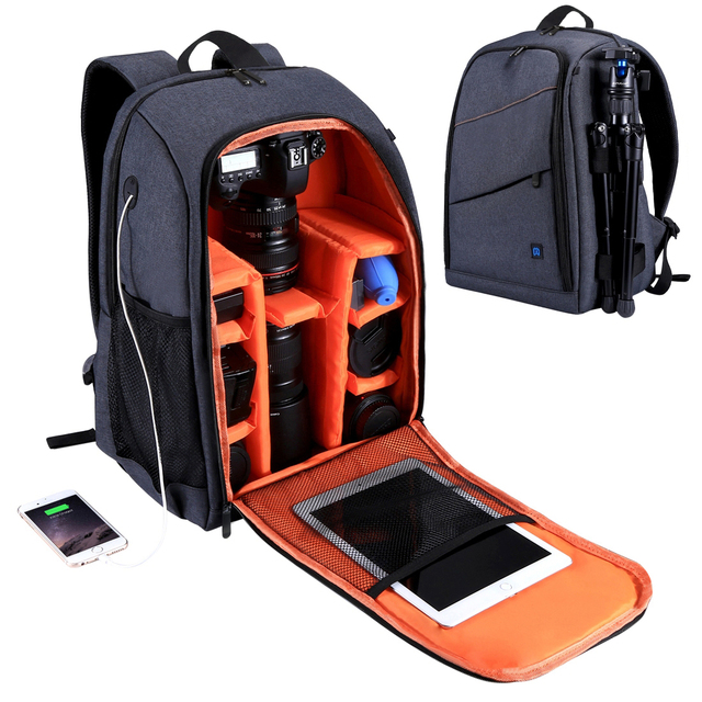 Waterproof DSLR Backpack With Charge Headphone Jack Video Digital DSLR Camera Bag Outdoor Camera Photo Bag for Nikon Canon Lens
