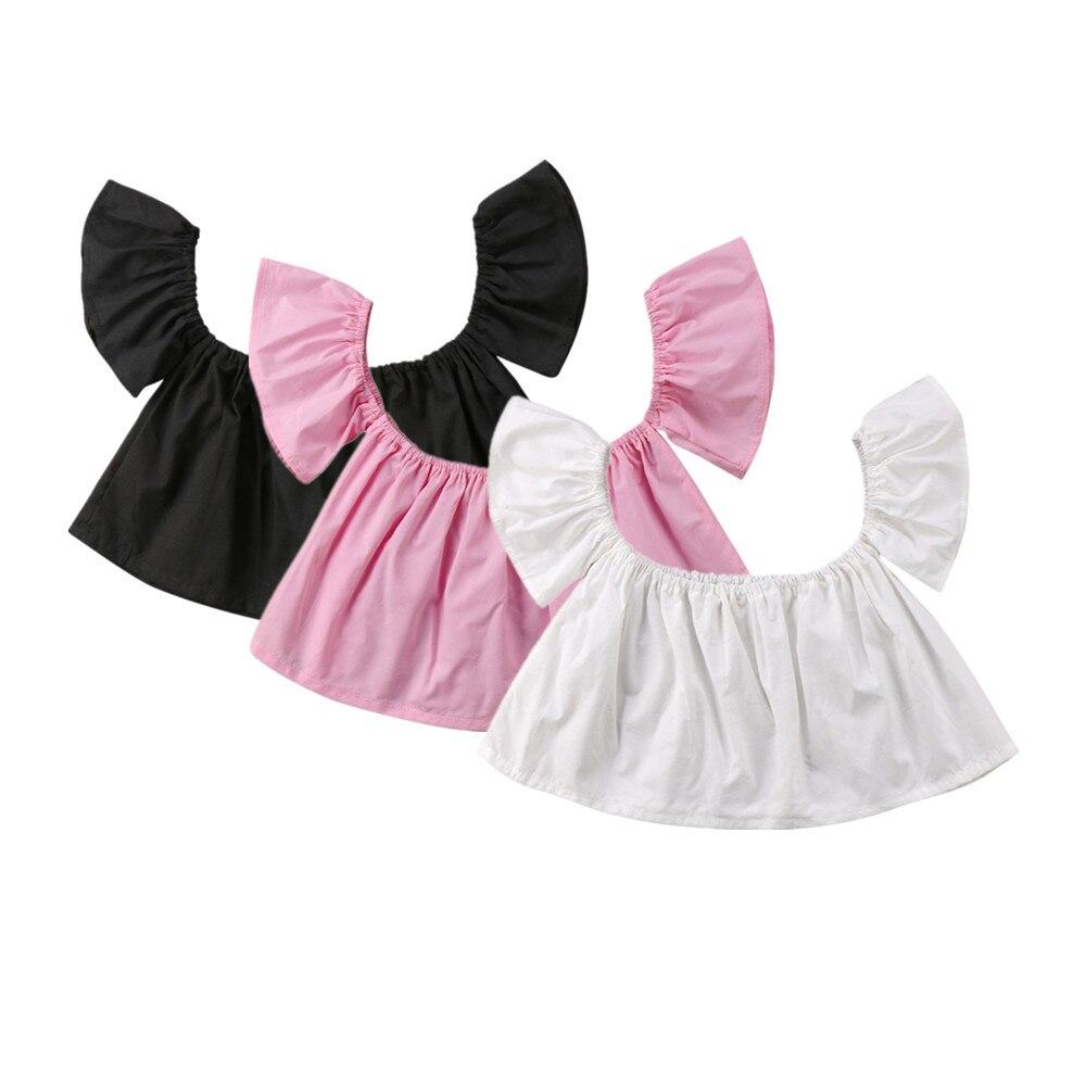 2018 Neugeborenen Babys Schulterfrei Solid Rosa Weiß Schwarz Crop Top T-shirt Bluse Kleidung Niedlich Sommerkleidung Mit Einem LangjäHrigen Ruf