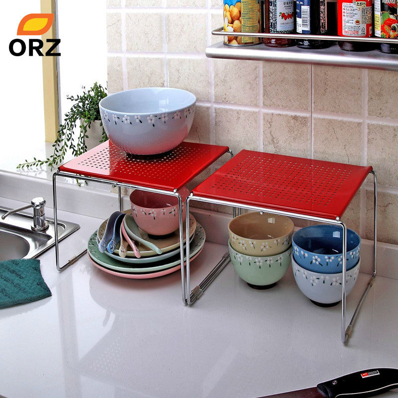 ORZ 2Pcs Set Red Iron Single Cupboard Shelf Multifunctional Kitchen Bathroom Storage Shelf Storage Rack Organizer