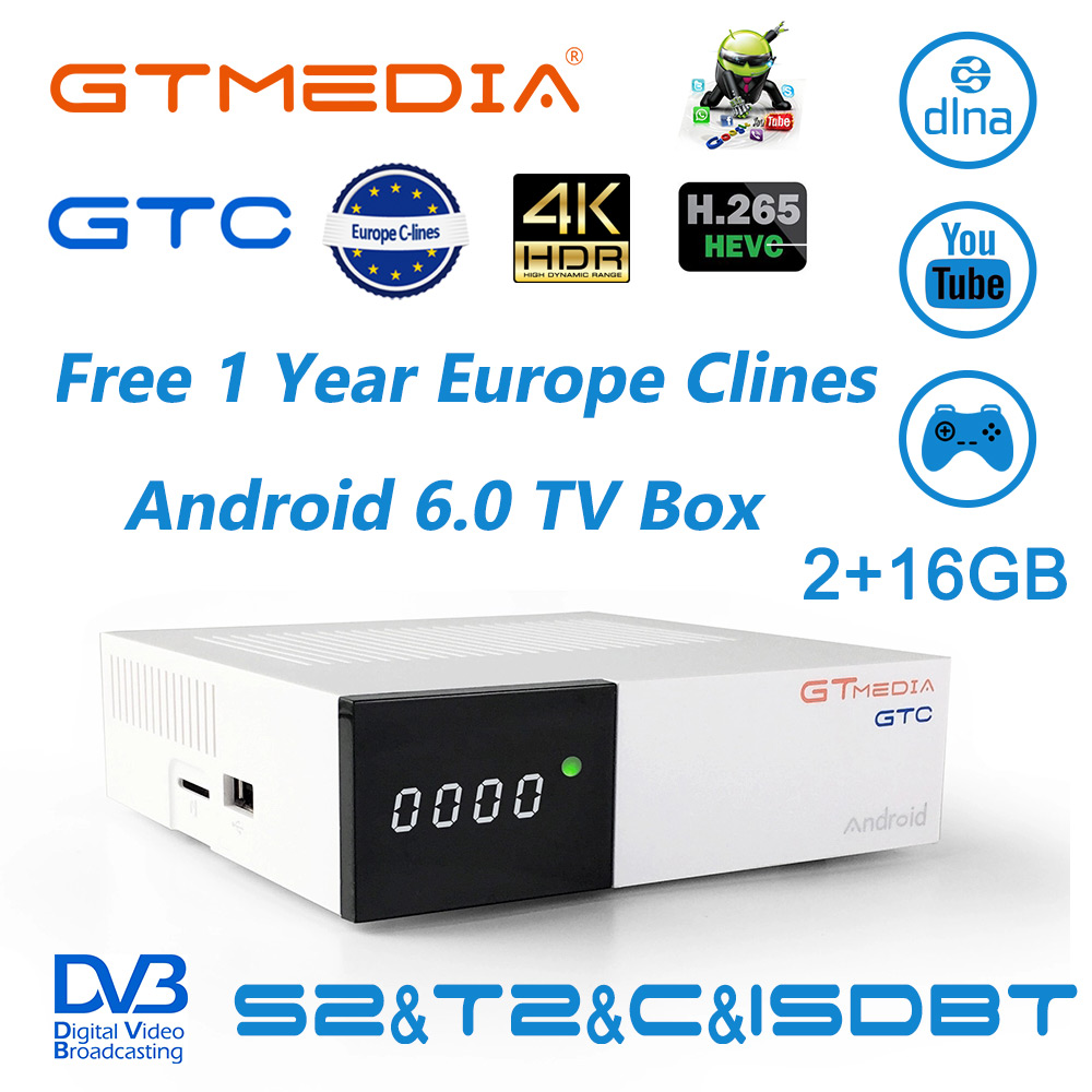 GTMEDIA GTC Android 6 0 TV Box DVB S2 T2 Cable ISDBT 2GB RAM 16GB ROM