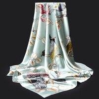 110x110cm 100% Natural Real Silk Square Scarf For Women Scarves Bandana Print Pure Silk Headscarf Neckerchief Foulard Femme