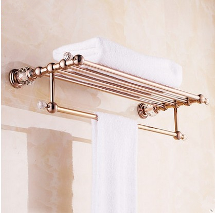Solid Copper Luxury Crystal Rose Gold Design Towel Rack Modern Bathroom Accessories Bars Shelf