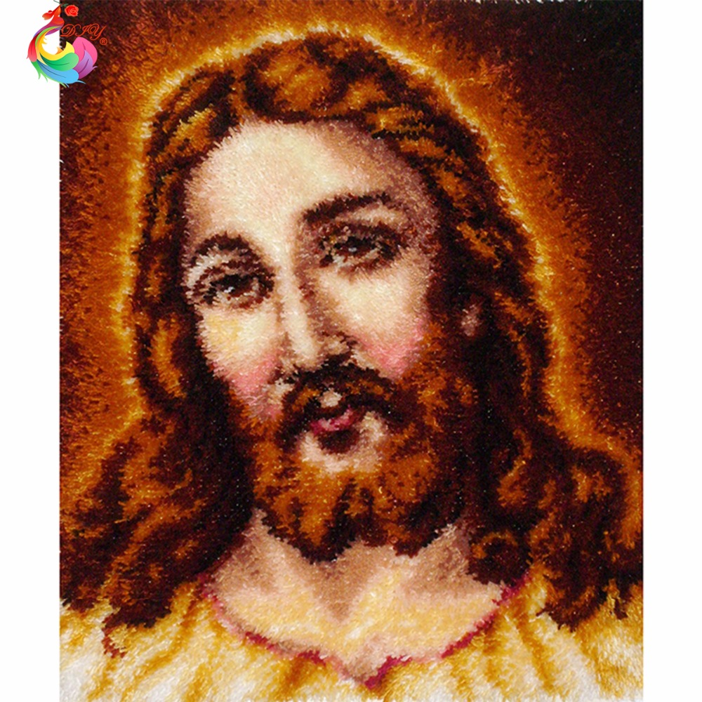 Unfinished Crocheting Rug Yarn Cushion Embroidery Carpet Jesus Mat Needlework Kit Latch Hook Rug Kit Big size110x90cm