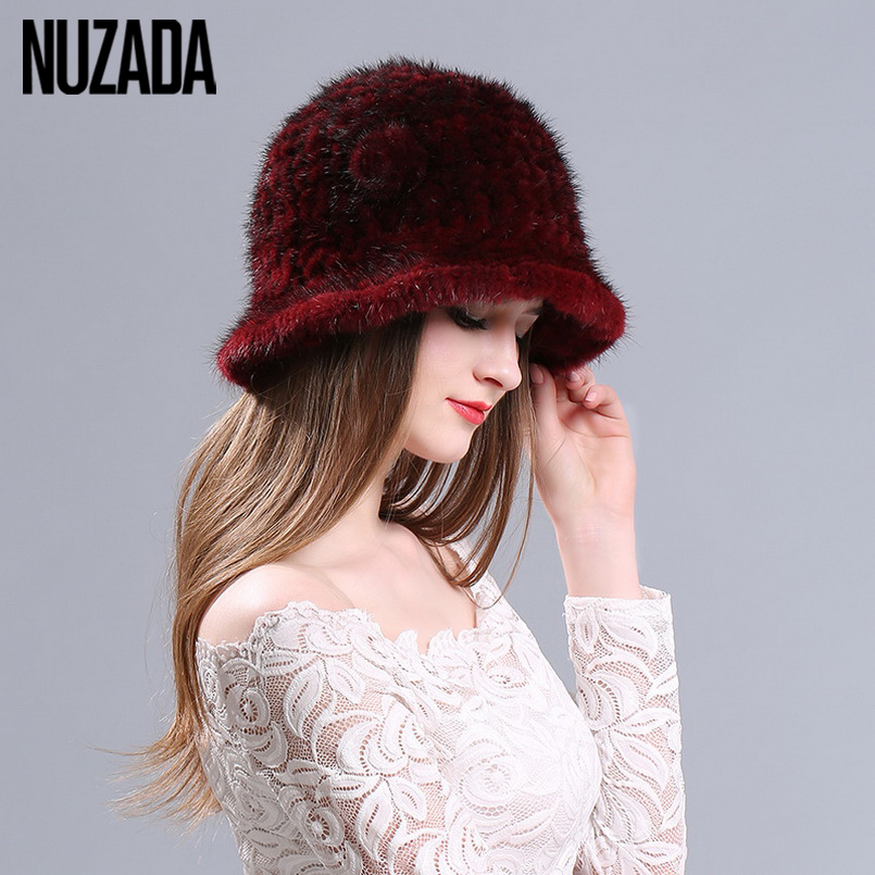 Brand NUZADA knitted Caps Winter Big Edge Women Lady Girl Skullies Beanies Cap Thick Comfortable Real Mink Fur Hat Keep Warm skullies beanies mink mink wool hat hat lady warm winter knight peaked cap cap peaked cap